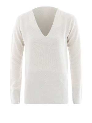 Fabiana Filippi: v necks - Purl knit Platinum blend sweater