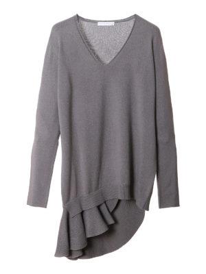 Fabiana Filippi: v necks - Wool sweater with asymmetric frill