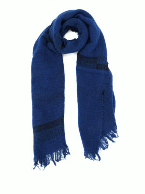 Faliero Sarti: scarves - Paulo blue wool blend scarf