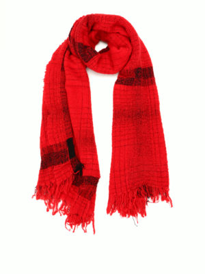 Faliero Sarti: scarves - Paulo red wool blend scarf