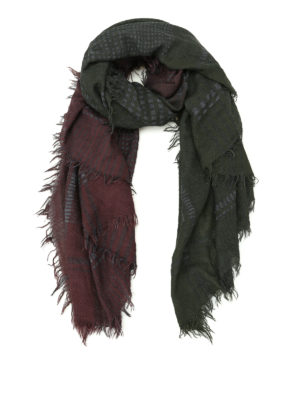 Faliero Sarti: scarves - Plus burgundy and dark green scarf