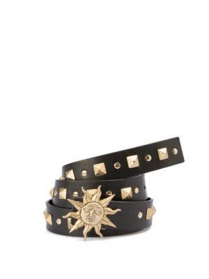 FAUSTO PUGLISI: cinture - Cintura nera borchiata con sole dorato