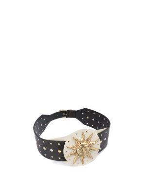FAUSTO PUGLISI: cinture - Cintura borchiata con placca dorata con sole