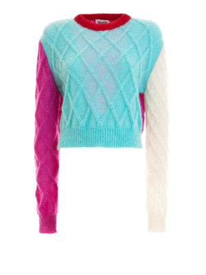 Fausto Puglisi: crew necks - Argyle mohair blend crop sweater