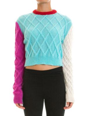 Fausto Puglisi: crew necks online - Argyle mohair blend crop sweater