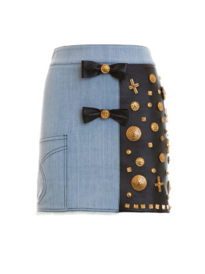 Fausto Puglisi: mini skirts - Leather panelled denim mini skirt