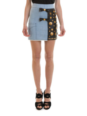 Fausto Puglisi: mini skirts online - Leather panelled denim mini skirt