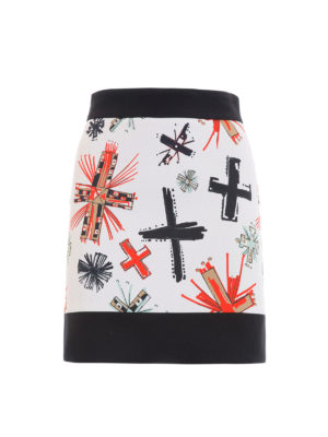 Fausto Puglisi: mini skirts - Stretch viscose printed mini skirt