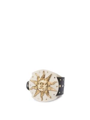 FAUSTO PUGLISI: cinture online - Cintura borchiata con placca dorata con sole