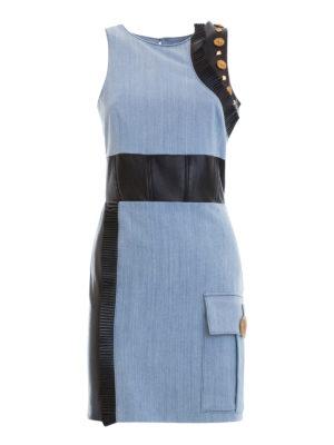 Fausto Puglisi: short dresses - Leather inserts denim short dress