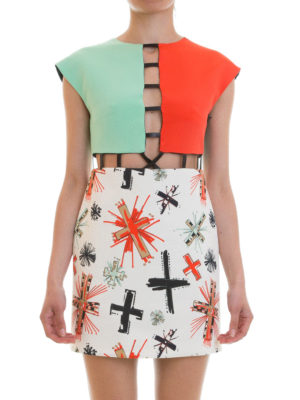 Fausto Puglisi: short dresses online - Cut out detailed colour block dress