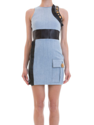 Fausto Puglisi: short dresses online - Leather inserts denim short dress