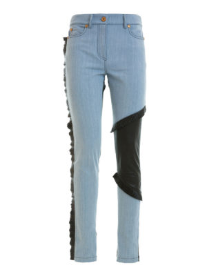 Fausto Puglisi: straight leg jeans - Leather panelled denim jeans