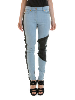 Fausto Puglisi: straight leg jeans online - Leather panelled denim jeans