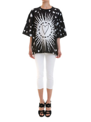 Fausto Puglisi: t-shirts online - Hearts print oversize T-shirt