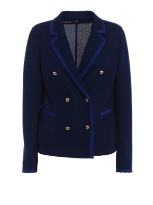 Fay: blazers - Blue jersey double-breasted blazer