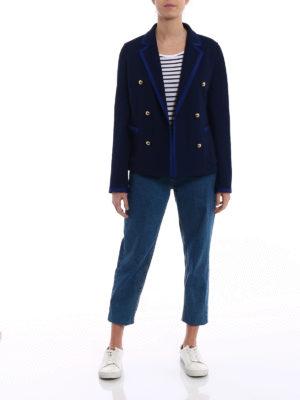 Fay: blazers online - Blue jersey double-breasted blazer