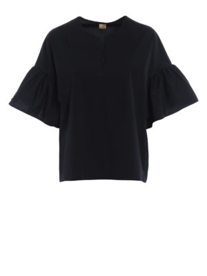 Fay: blouses - Black poplin relaxed blouse
