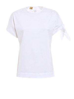 Fay: blouses - Cotton blouse with bow detail