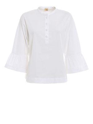 Fay: blouses - Flounce detailed poplin blouse