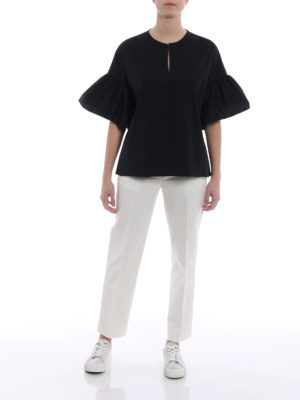 Fay: blouses online - Black poplin relaxed blouse