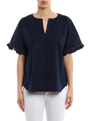 Fay: blouses online - Embellished cotton blouse