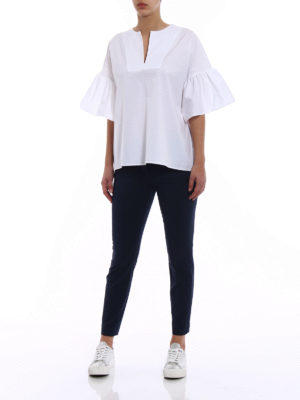 Fay: blouses online - Poplin relaxed white blouse