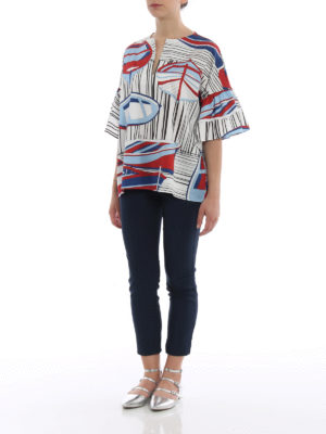 Fay: blouses online - Sailor print cotton summer blouse
