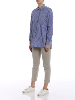 Fay: blouses online - Striped cotton long sleeve blouse