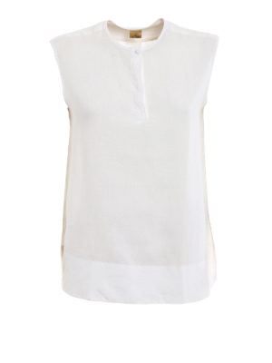 Fay: blouses - Sleeveless linen straight blouse