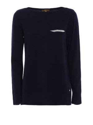 Fay: boat necks - Embellished wool blend blue sweater