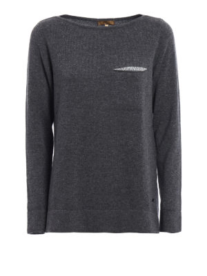 Fay: boat necks - Embellished wool blend grey sweater