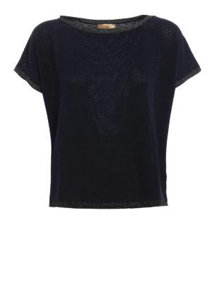 Fay: boat necks - Lurex detailed boxy sweater
