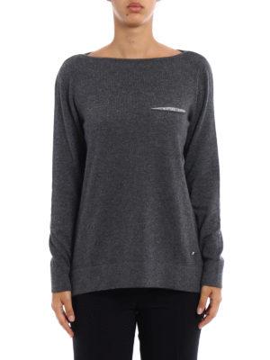 Fay: boat necks online - Embellished wool blend grey sweater