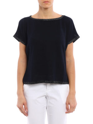 Fay: boat necks online - Lurex detailed boxy sweater
