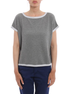 Fay: boat necks online - Lurex detailed boxy sweater