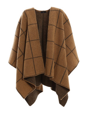 FAY: Mantelle e poncho - Poncho in lana stile coperta a quadri
