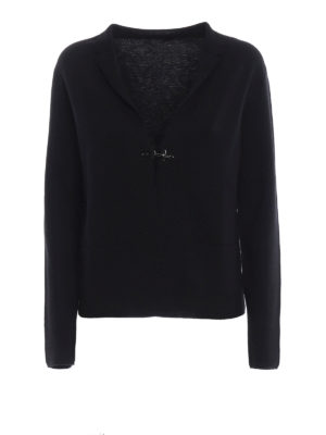 FAY: cardigan - Cardigan nero in lana pettinata con un gancio