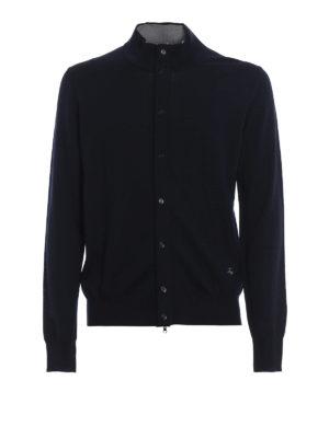 FAY: cardigan - Cardigan in pura lana blu con zip e bottoni