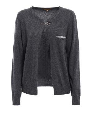 Fay: cardigans - Embellished wool blend cardigan