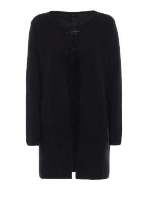 FAY: cardigan - Cardigan lungo in pura lana con gancio Fay