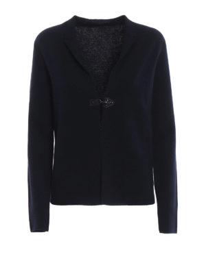 FAY: cardigan - Cardigan blu in lana pettinata con un gancio
