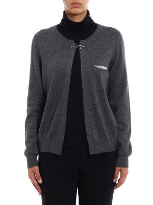 Fay: cardigans online - Embellished wool blend cardigan