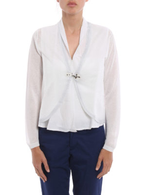 Fay: cardigans online - Lurex detailed crop cardigan