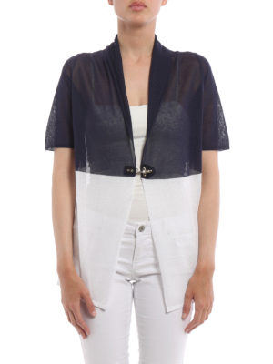 Fay: cardigans online - Short sleeved colour block cardigan