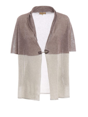 Fay: cardigans - Short sleeved colour block cardigan