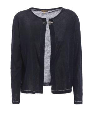 Fay: cardigans - Silk jersey crop cardigan
