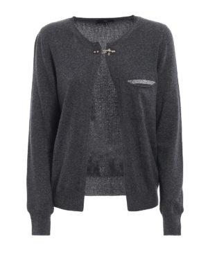 FAY: cardigan - Cardigan in lana con strass e micro borchie