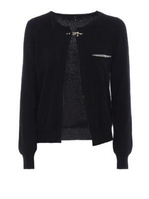 FAY: cardigan - Cardigan in lana con  micro borchie e strass
