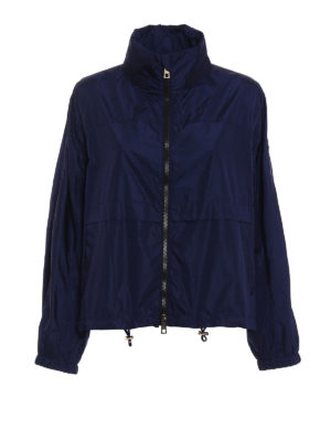 Fay: casual jackets - Blue nylon A-line windbreaker